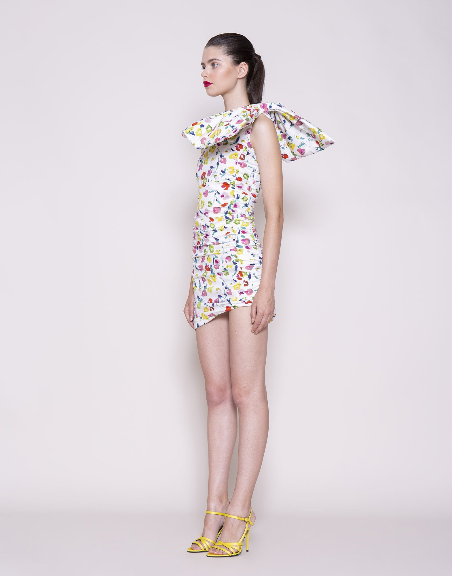 Asymmetric printed bow dress