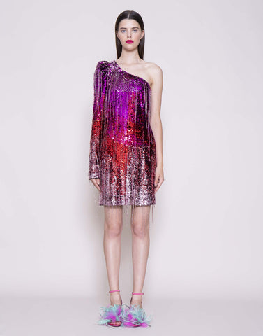 One-sleeve sequins and crystals dress