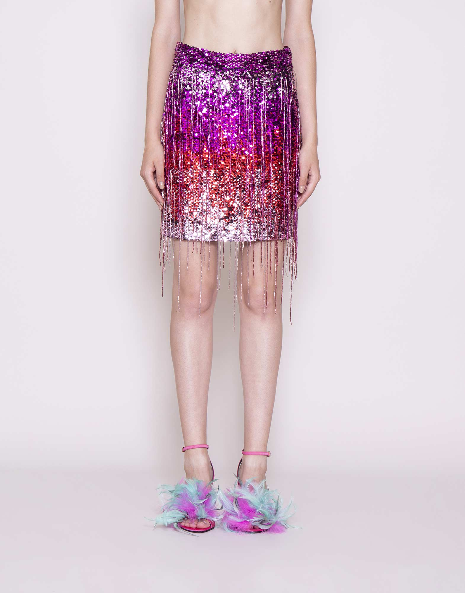 Fringed sequin skirt