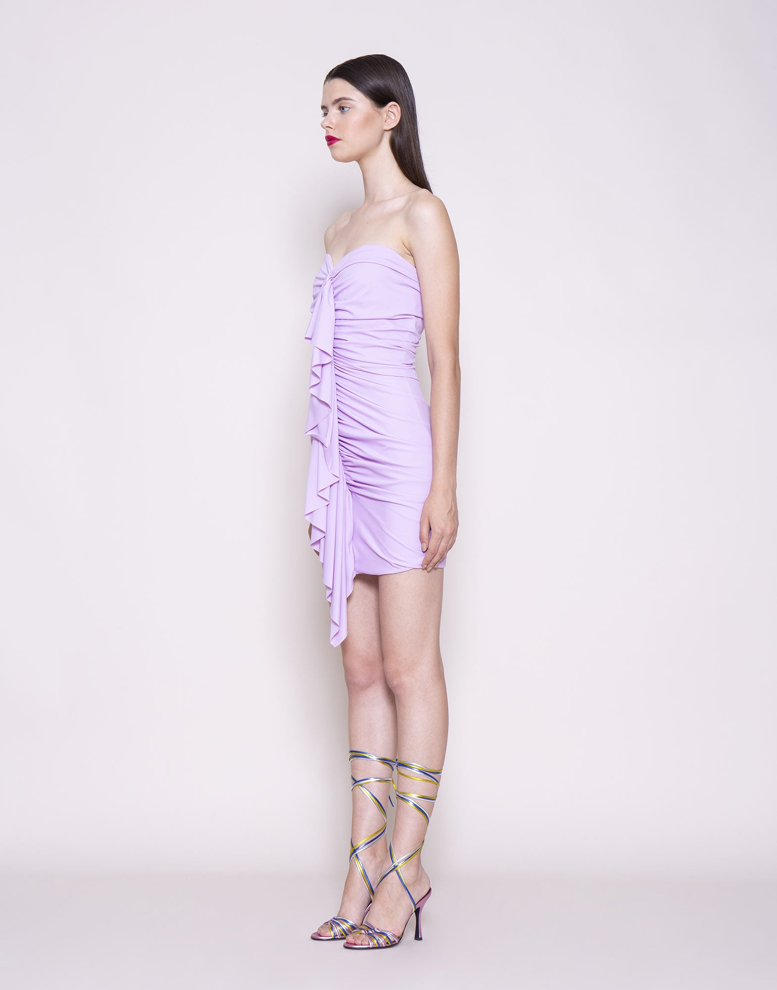 Lilac ruffled mini dress