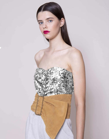 Silver sequins corset | NEW ARRIVALS