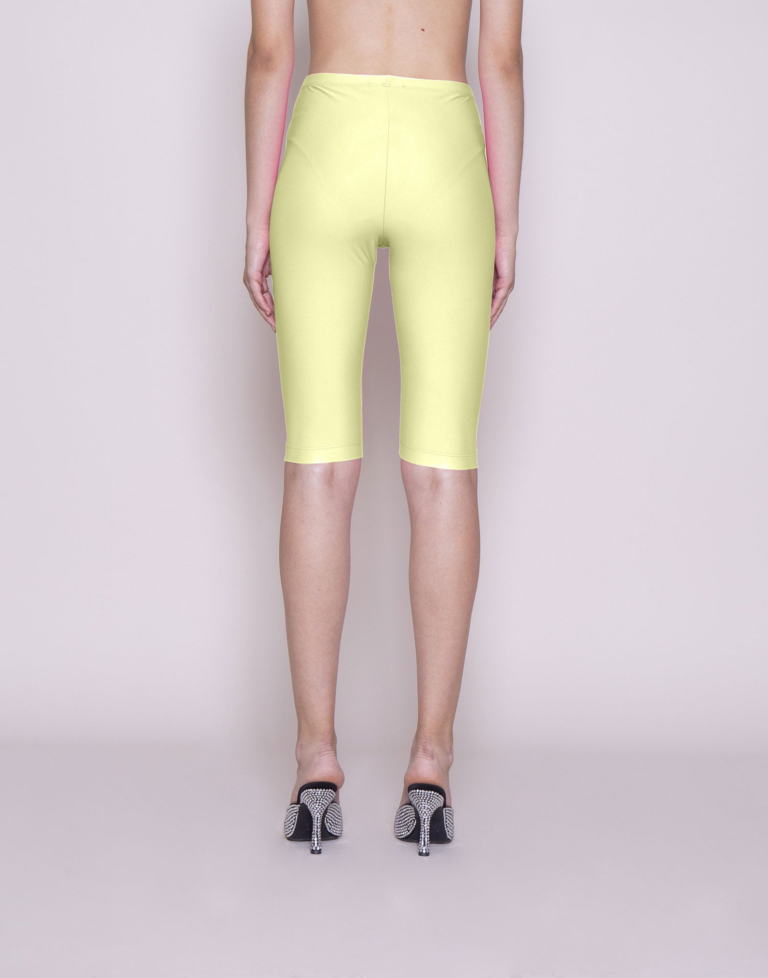 Yellow lycra biker shorts