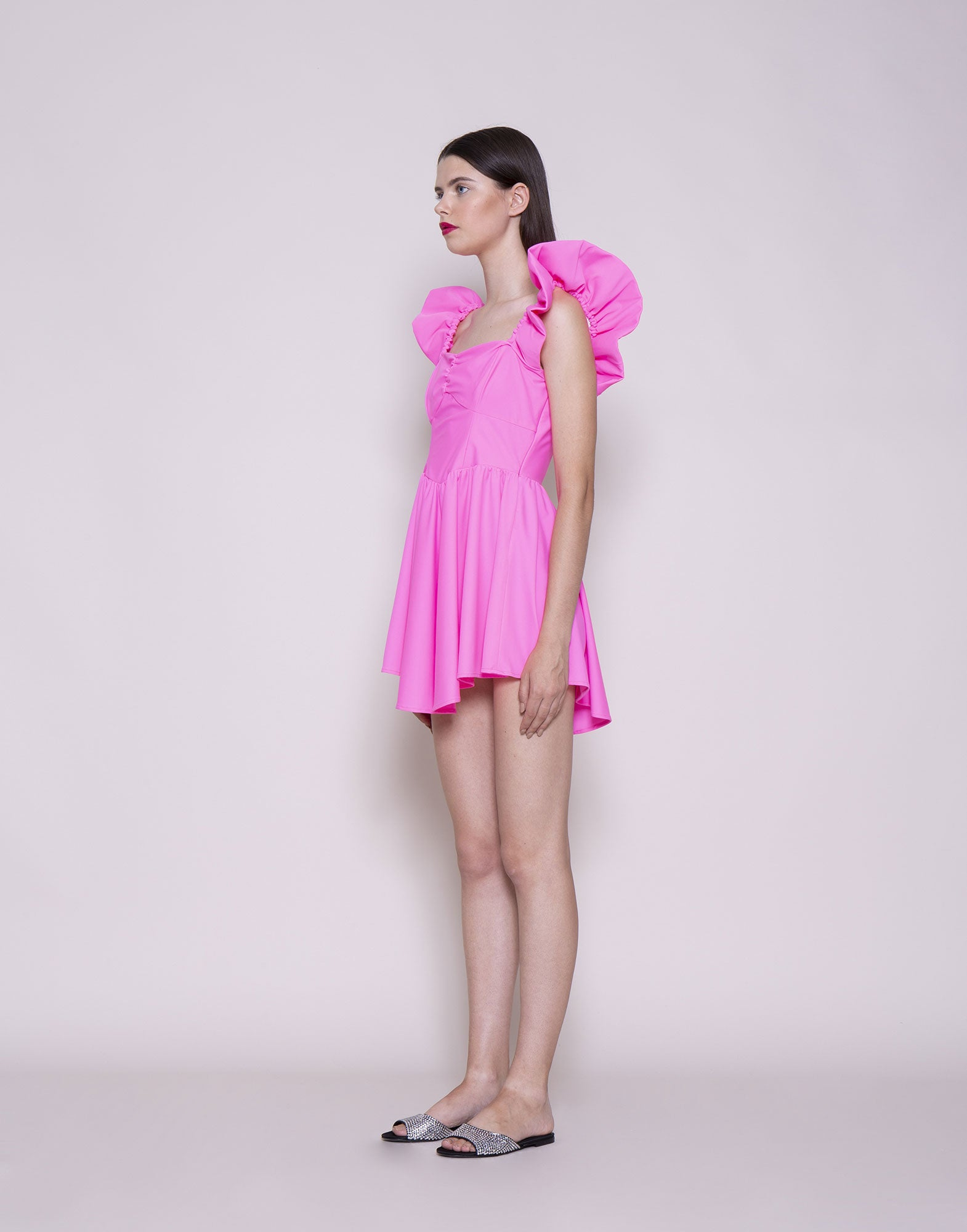 Pink curled straps mini dress | NEW ARRIVALS