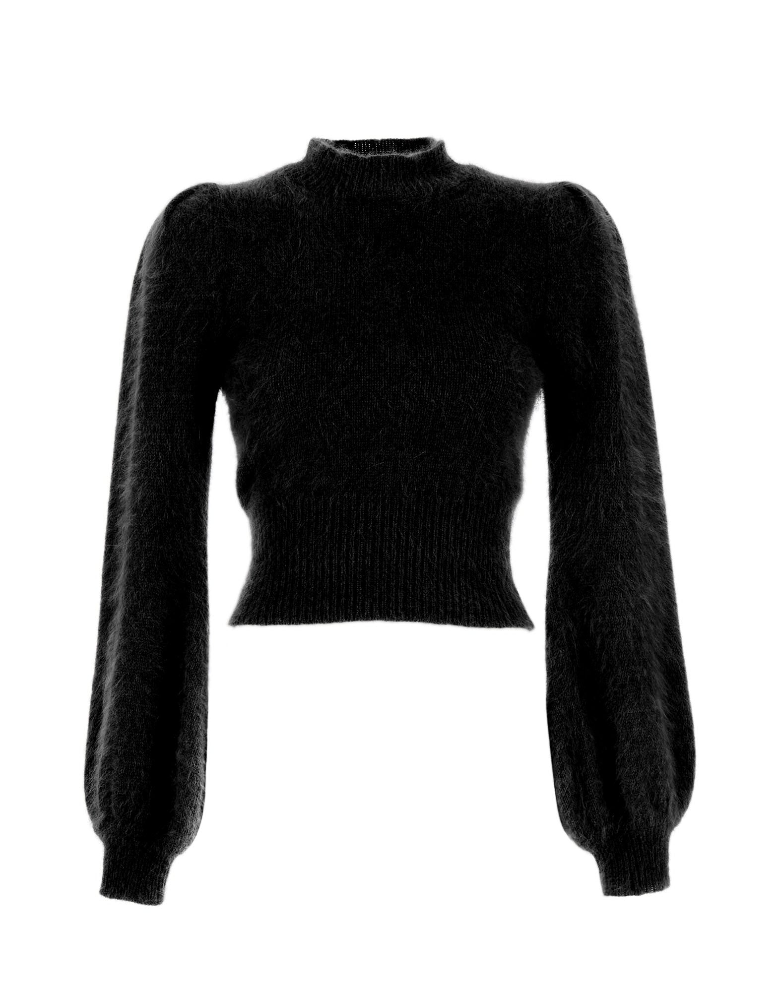 Black turtleneck angora knit