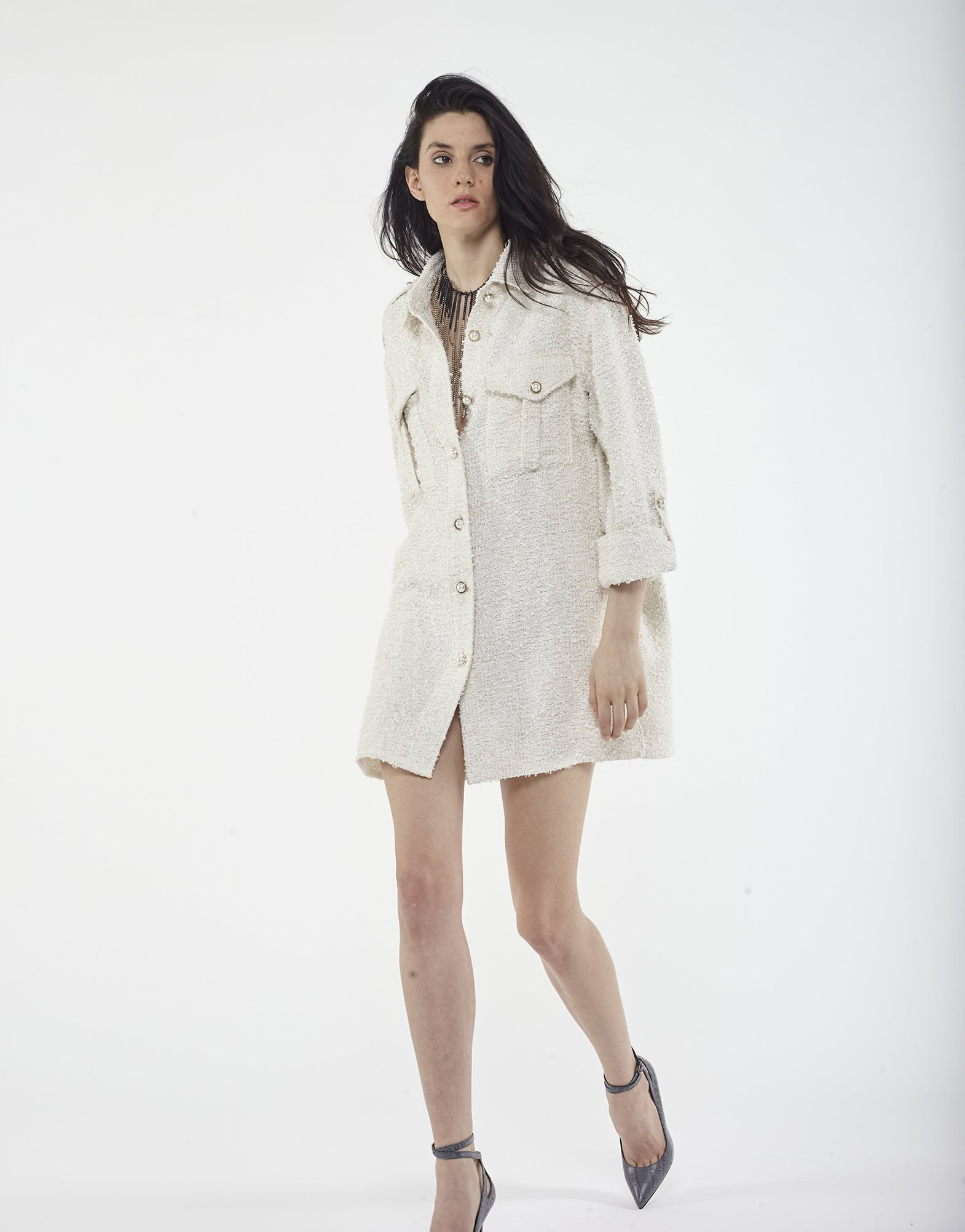 White oversized shirt in tweed - NEW IN