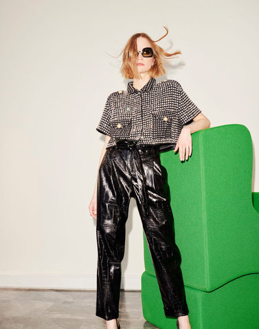 Crocodile effect high-waisted trousers - NEW IN