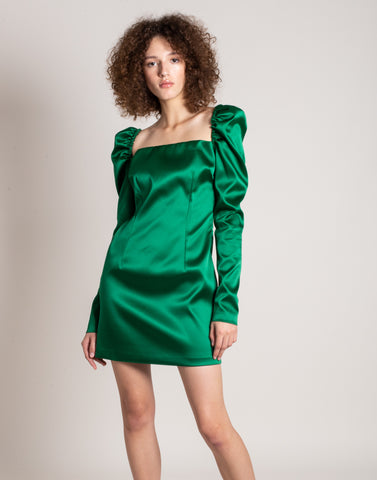 Satin puffed shoulders dress