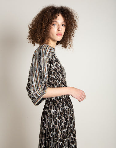 Embroidered animalier print dress