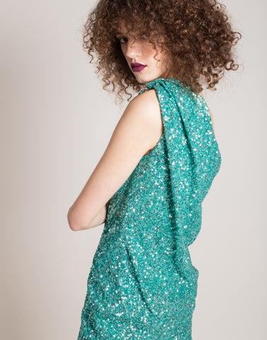 Water green sequins dress