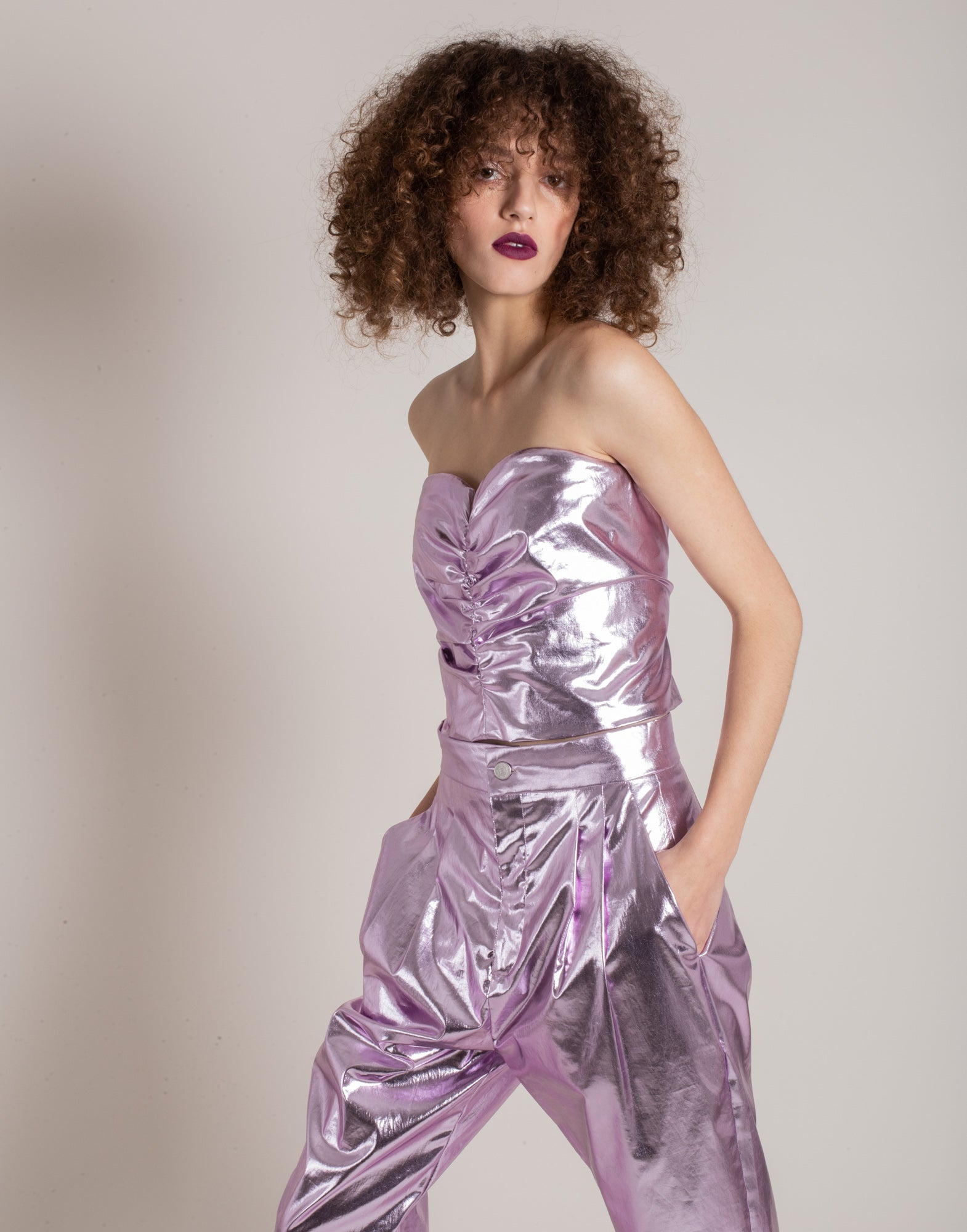 Purple laminated corset