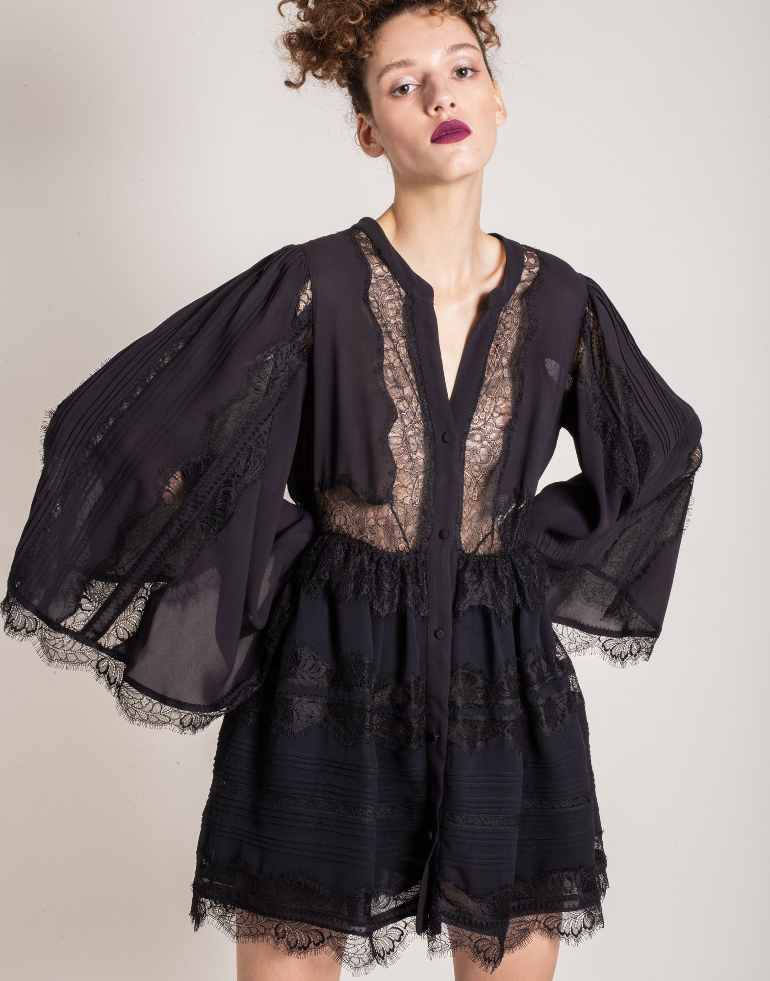 Black lace shirt dress - NEW COLLECTION