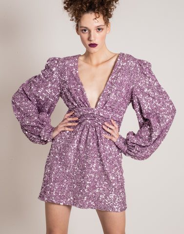 Purple sequins dress