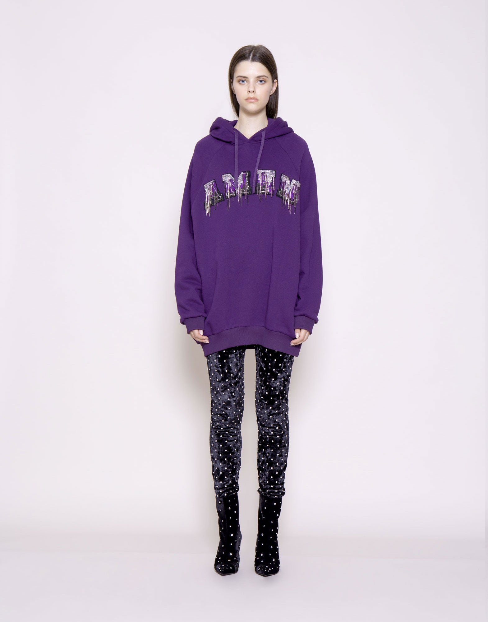 Sequin and crystal logo hoodie