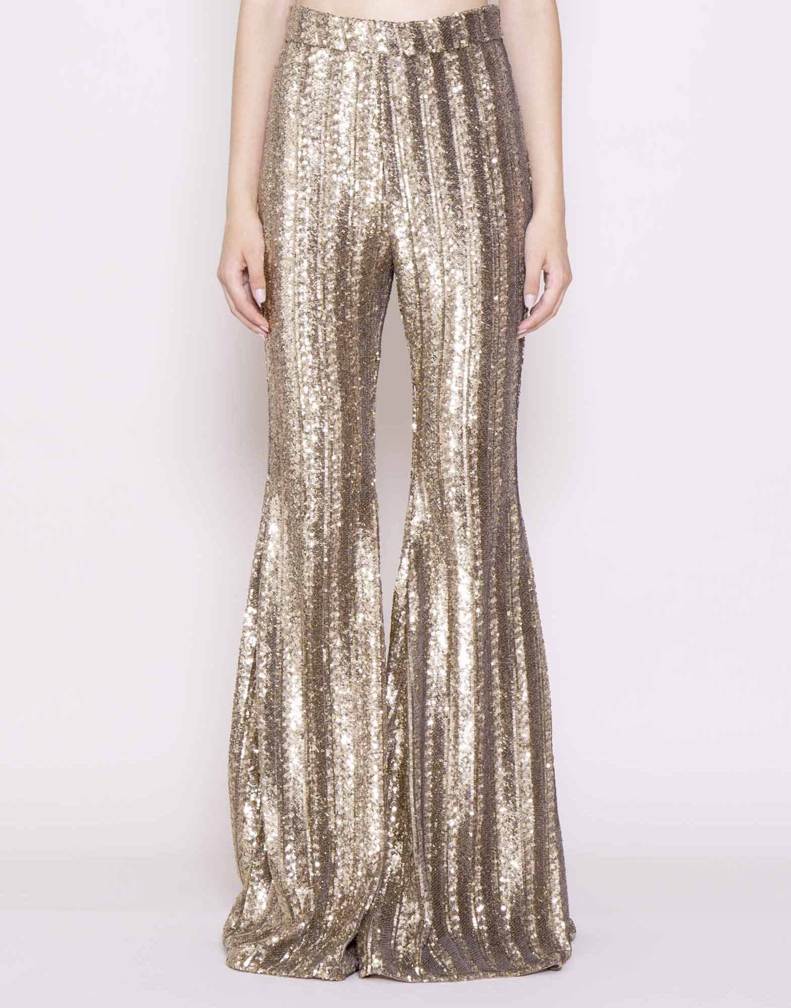 Sequin embroidered flare pants
