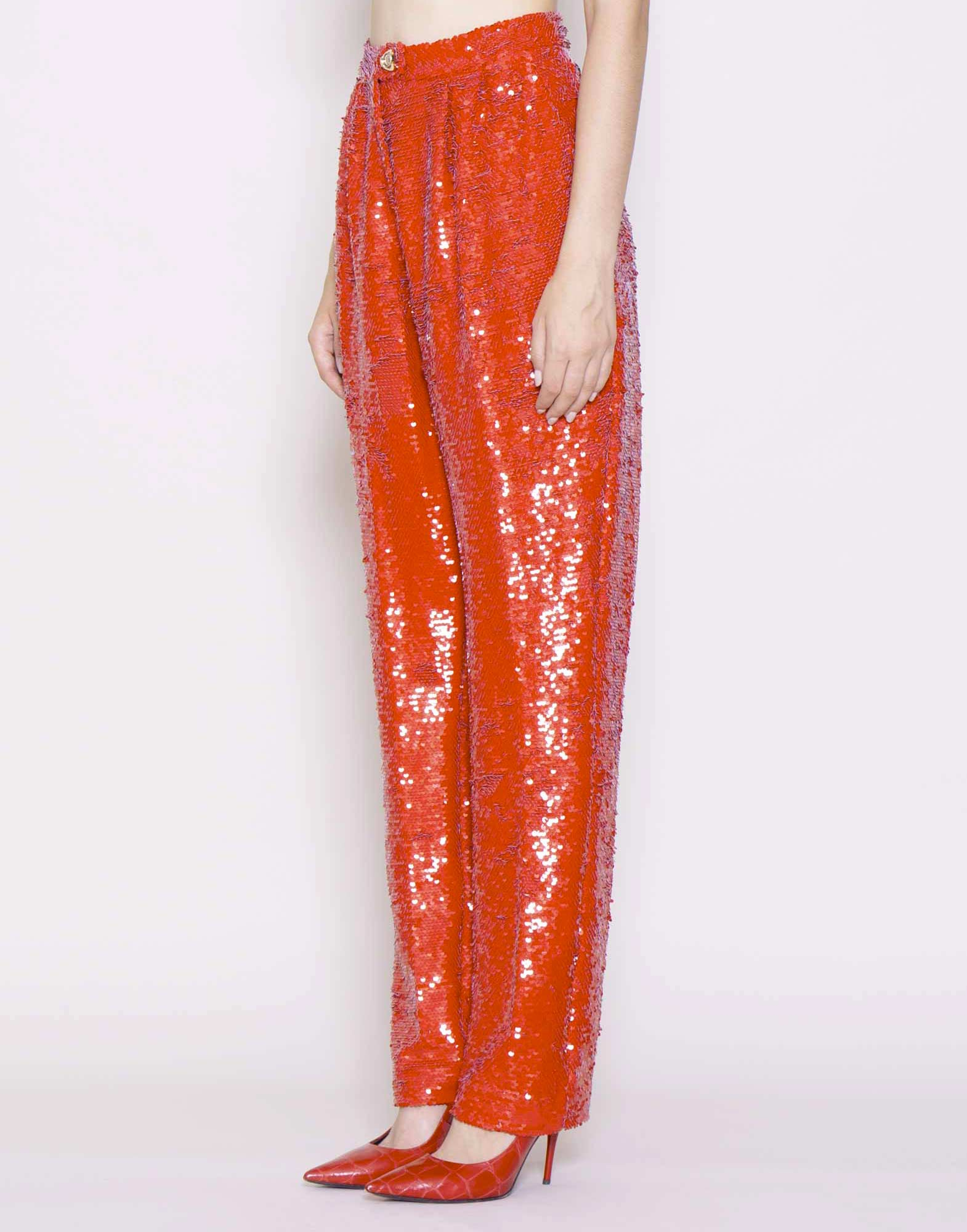 Sequin embroidered pants