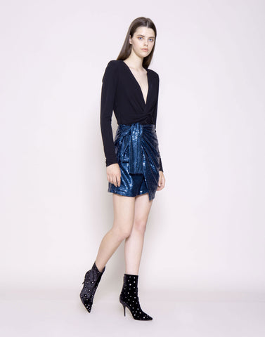 Sequin wrap mini skirt
