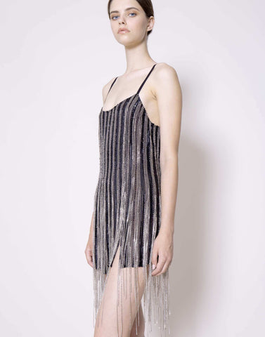 Sequin and crystal fringes slip dress
