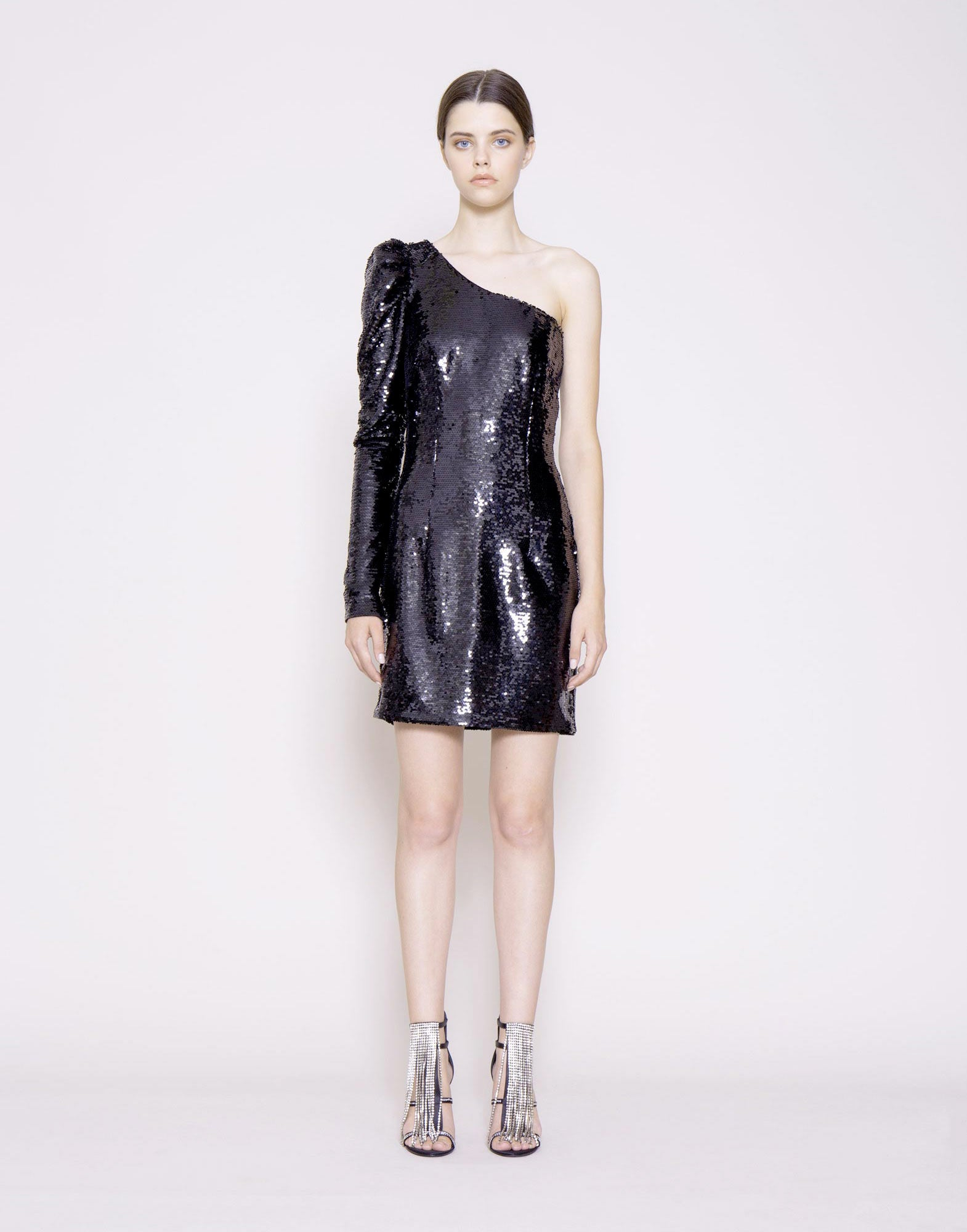 Single-shoulder minidress with all-over embroidered sequins.