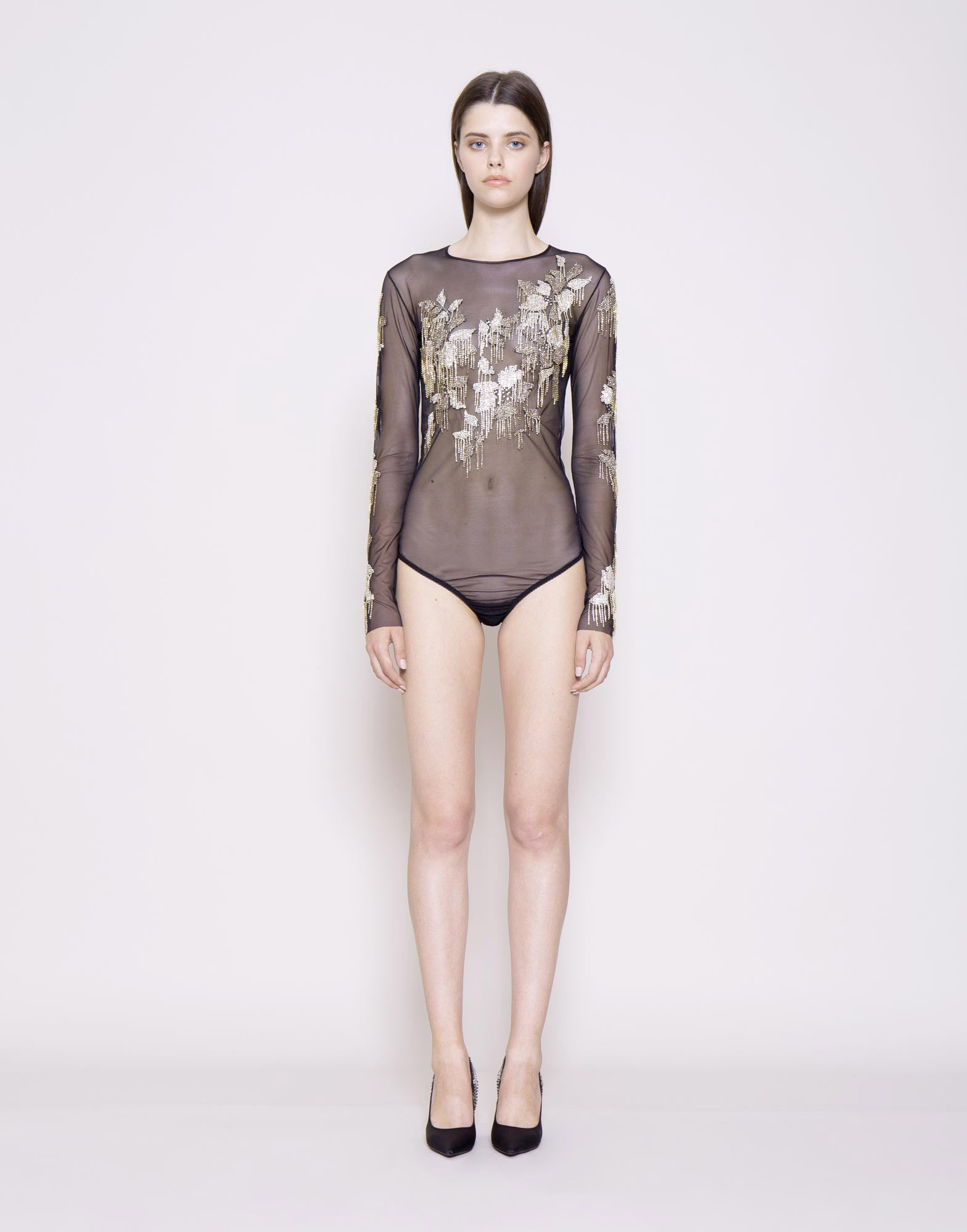 Crystal embroidered sheer bodysuit