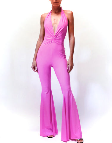 Pink fluo flared jumpsuit