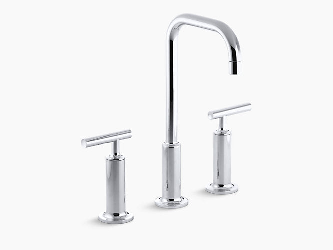 Purist®Widespread bathroom sink faucet with high lever handles and high gooseneck spout