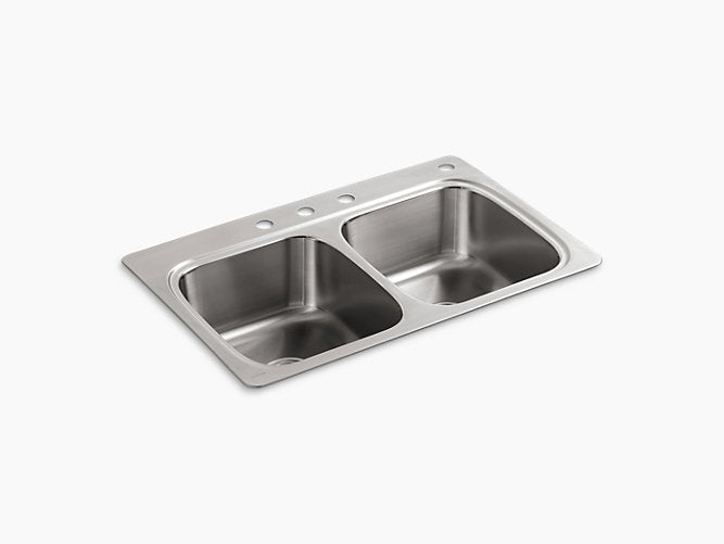 "Verse™33"" x 22"" x 9-1/4"" top-mount double-equal bowl kitchen sink with 4 faucet holes"