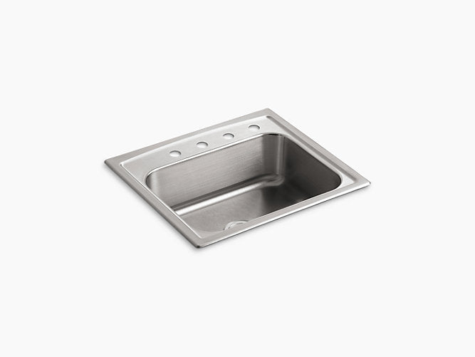"Toccata™25"" x 22"" x 7-11/16"" top-mount single-bowl kitchen sink with 4 faucet holes"