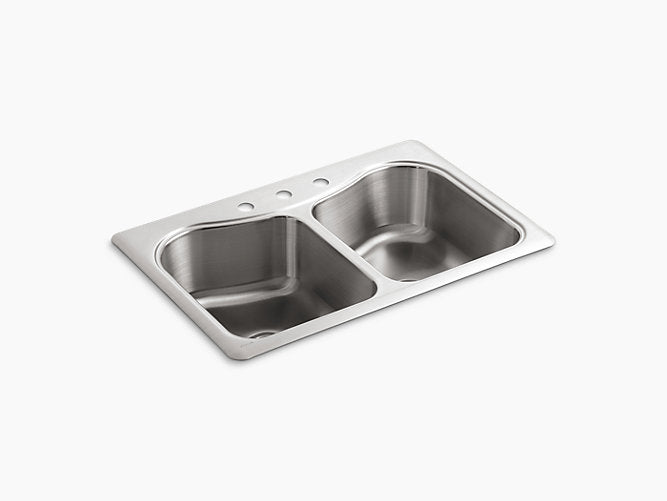 "Staccato™33"" x 22"" x 8-5/16"" top-mount double-equal bowl kitchen sink with 3 faucet holes"