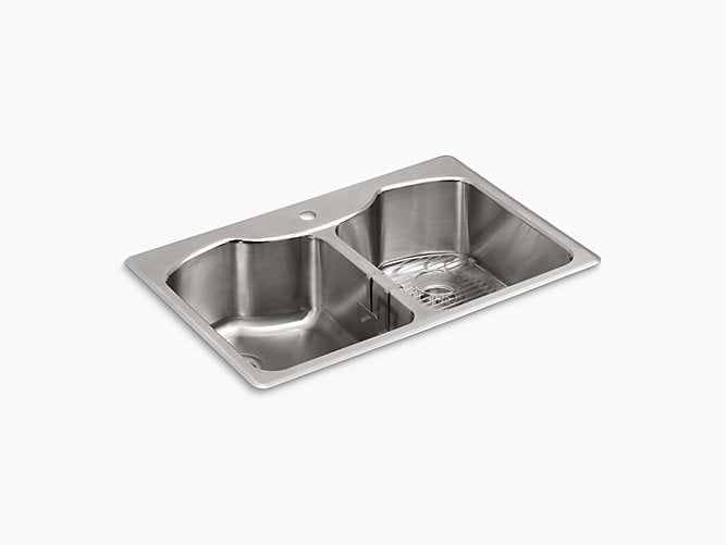 "Octave®33"" x 22"" x 9-5/16"" Top-mount/undermount double-equal stainless steel kitchen sink with single faucet hole"