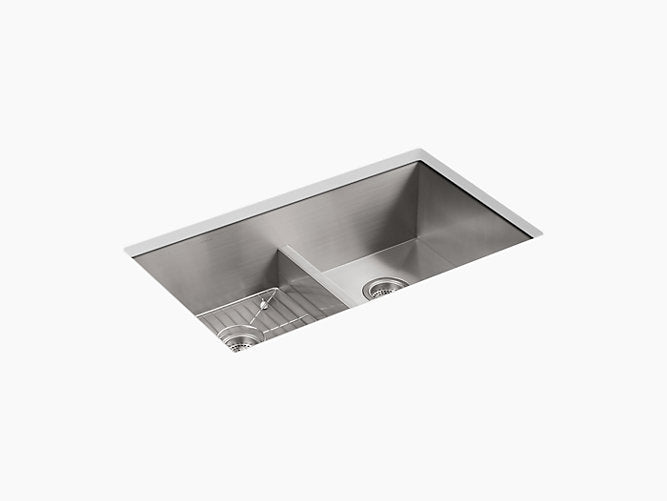 "Vault™33"" x 22"" x 9-5/16"" Smart Divide® top-mount/undermount double-equal bowl kitchen sink with 4 faucet holes"