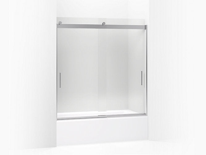 "Levity®Sliding bath door, 62"" H x 56-5/8 - 59-5/8"" W, with 1/4"" thick Crystal Clear glass and blade handles"