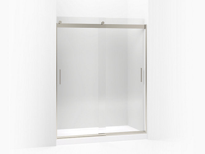 "Levity®Sliding shower door, 74"" H x 56-5/8 - 59-5/8"" W, with 3/8"" thick Crystal Clear glass and blade handles"