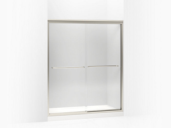 "Fluence®Sliding shower door, 70-5/16"" H x 56-5/8 - 59-5/8"" W, with 1/4"" thick Crystal Clear glass"
