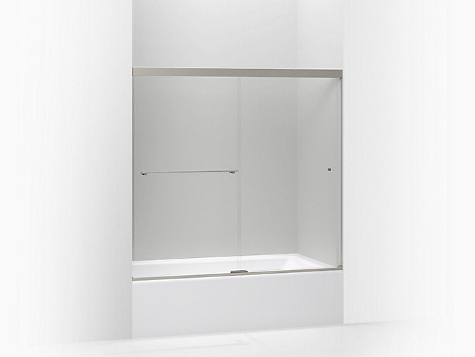 "Revel®sliding bath door, 55-1/2""H x 56-5/8 – 59-5/8""W, with 1/4"" thick Crystal Clear glass"