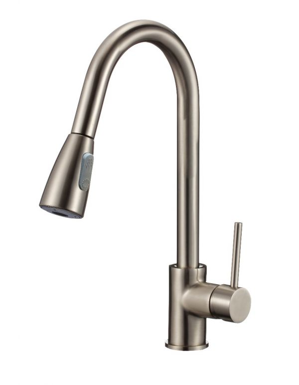 "RATEL PULL DOWN KITCHEN FAUCETS 8 11/16"" X 15 3/4"" BRUSHED NICKEL"