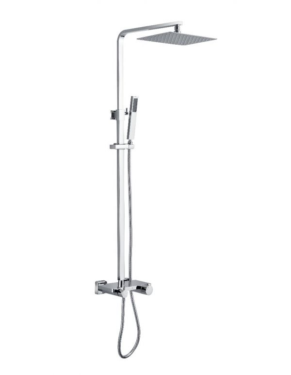 SHOWER SYSTEM WITH RETANGULAR RAINFALL SHOWER HEAD BRUSH NICKEL