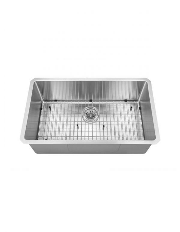 "SINGLE HANDMADE SINK 16G 30""X18""X10"" WITH GRID AND A STRAINER R10MM"