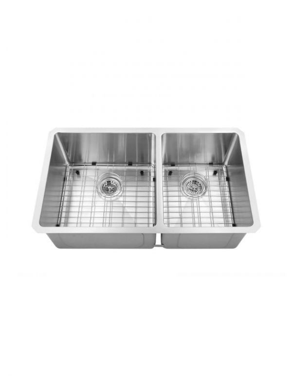 "DOUBLE HANDMADE SINK 60/40 16G 32""X19""X10"" WITH GRIDS AND A STRAINER R10MM"