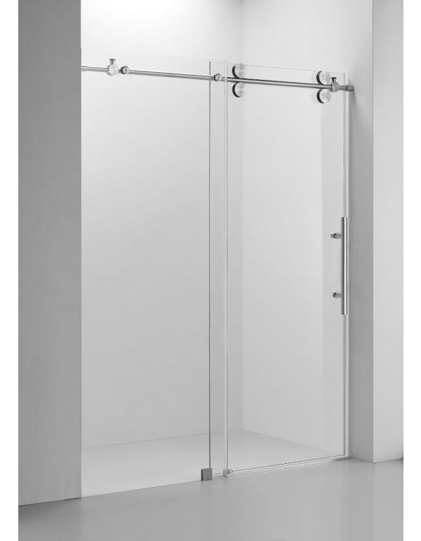 "FRAMELESS SHOWER DOOR (10MM)THICK TEMPERED GLASS 60""W X 76""H BRUSH NICKEL"