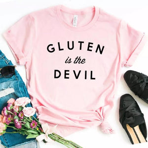 Camiseta estampada T-shirt Gluten is the devil