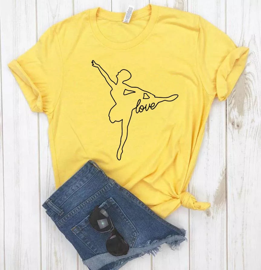 Camiseta Estampada T-shirt  Bailarina Love