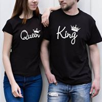 Camiseta estampada pareja T-shirt QUEEN / KING CURSIVA