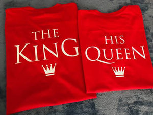 Camiseta estampada pareja T-shirt The King / The Queen rojo
