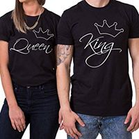 Camiseta estampada pareja T-shirt King / Queen Cursiva Delgada