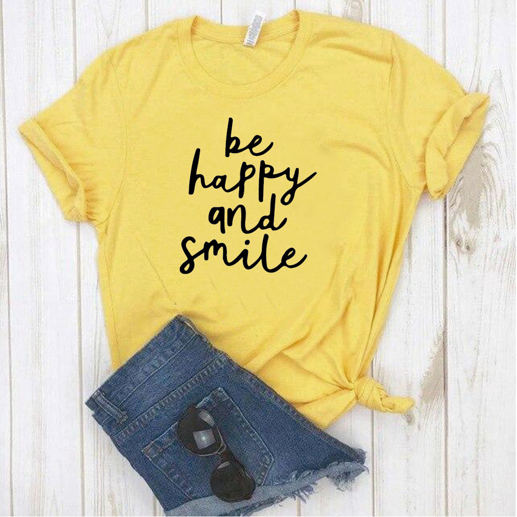 Camiseta estampada T-shirt Be Happy and Smile