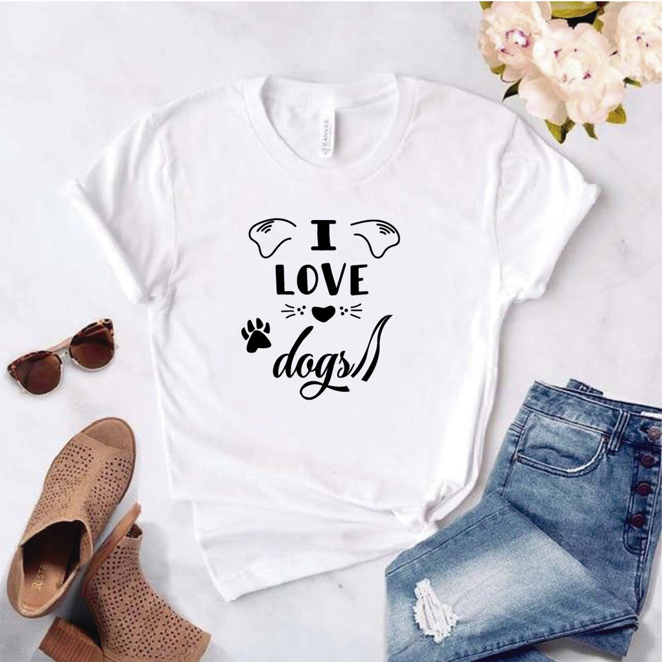 Camisa estampada  tipo T-shirt I LOVE DOGS