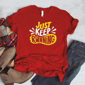 Camiseta estampada tipo T-shirt JUST KEEP RUNNING (FITNESS)