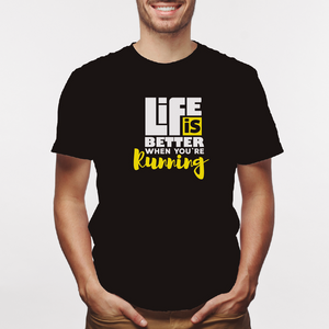 Camiseta estampada tipo T-shirt LIFE IS BETTHER RUNNING (FITNESS)