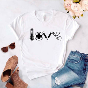 Camisetas estampada tipo T-shirt  LOVE MEDICINA