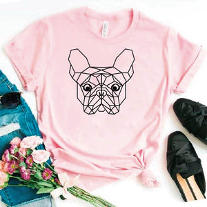 Camiseta estampada tipo T-shirt BOSTON TERRIER CARA (GEOMÉTRICO)